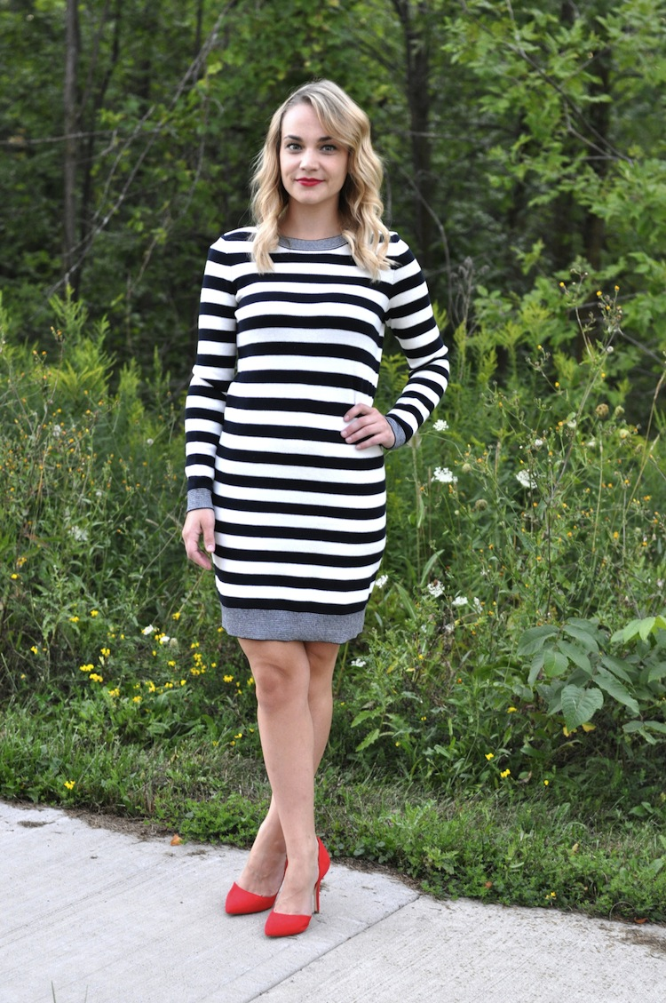 Black and white dress with red heels images