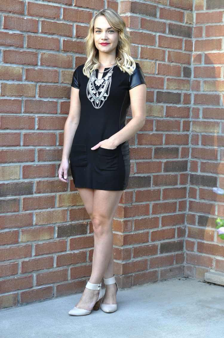 Crystal statement necklace, huge statement necklace, black leather accent dress, how to style large statement necklaces, miz mooz shoes, miz mooz strappy sandals Canada ootd, fashion blogger, Canada fashion blogger, ootd blogger, ootd inspiration
