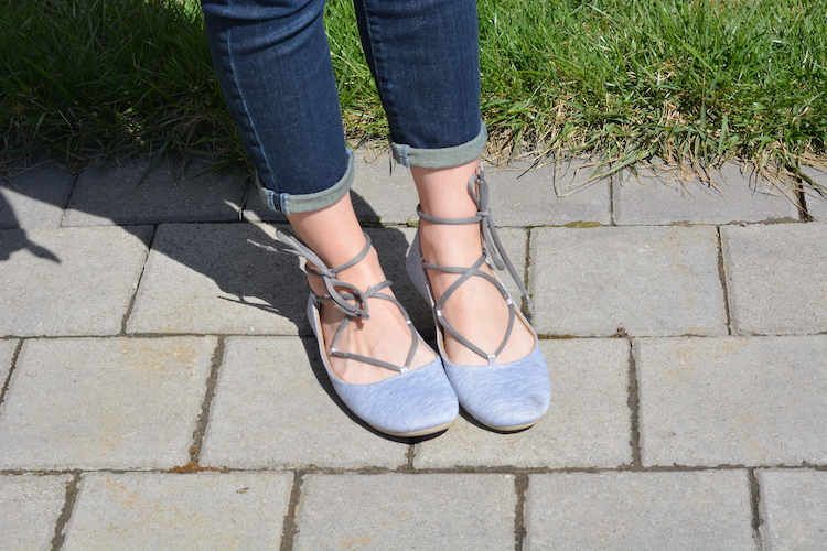 Grey Lace Up Flats