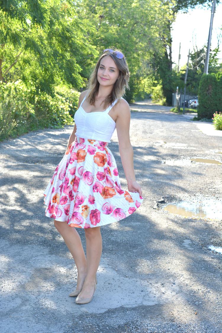 Floral Midi Skirt, orange and pink skirt, style we skirt
