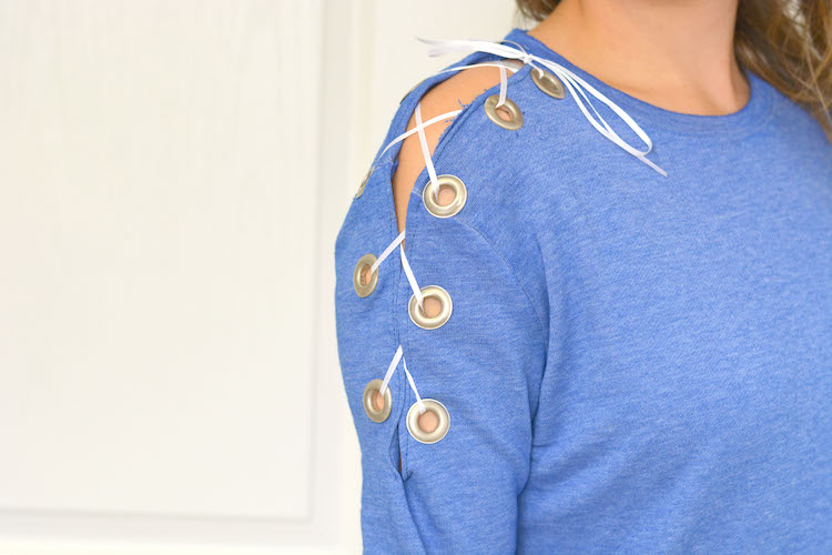 DIY Lace Up Sweater