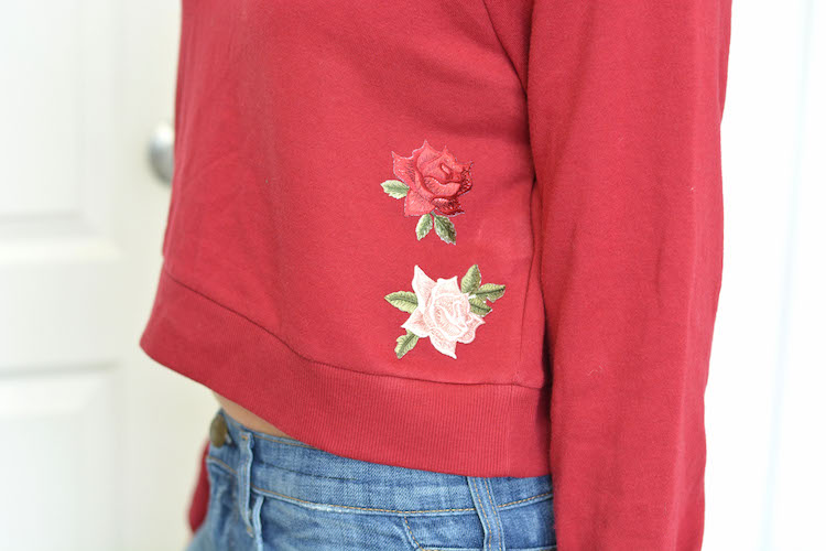 DIY Crop Top Patch Sweater