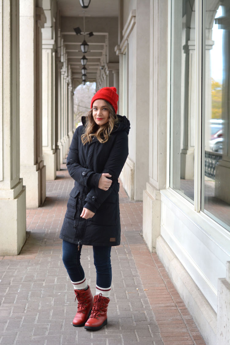 Red Winter Boots Outfit