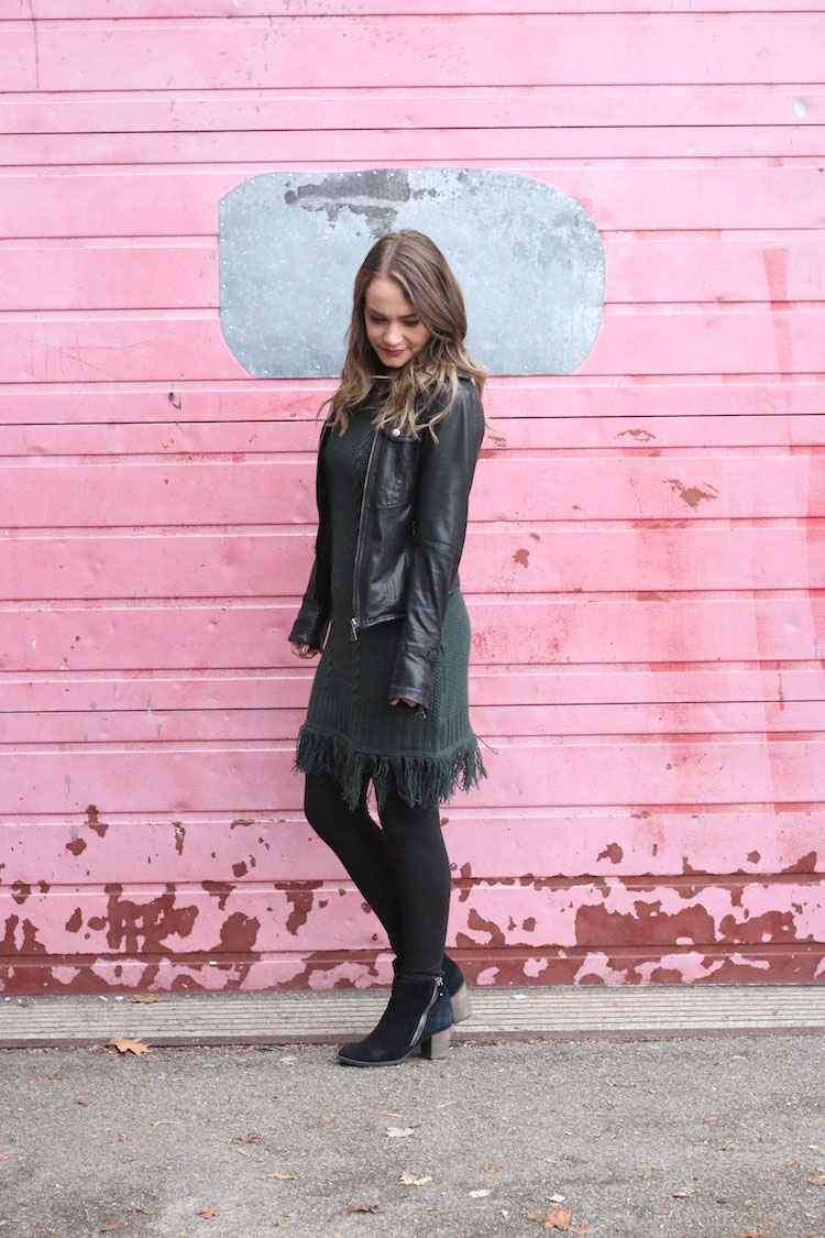Green Fringe Dress, pink wall, taking blog photos