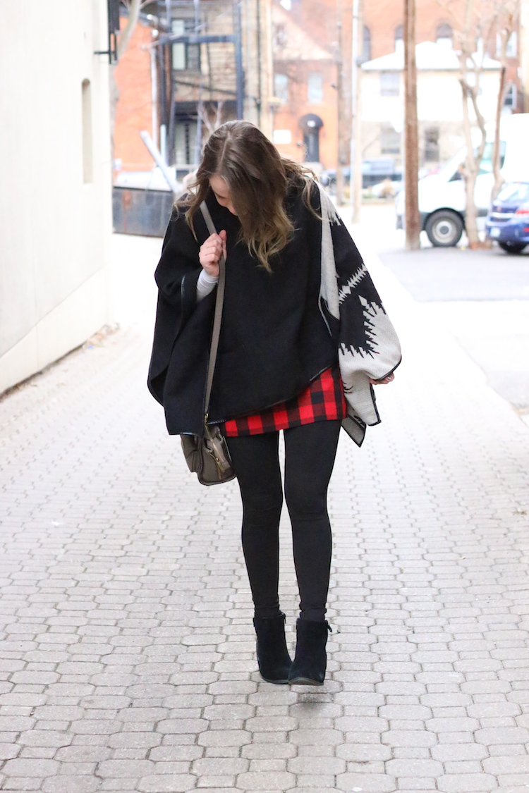 Poncho and Red Plaid Skirt