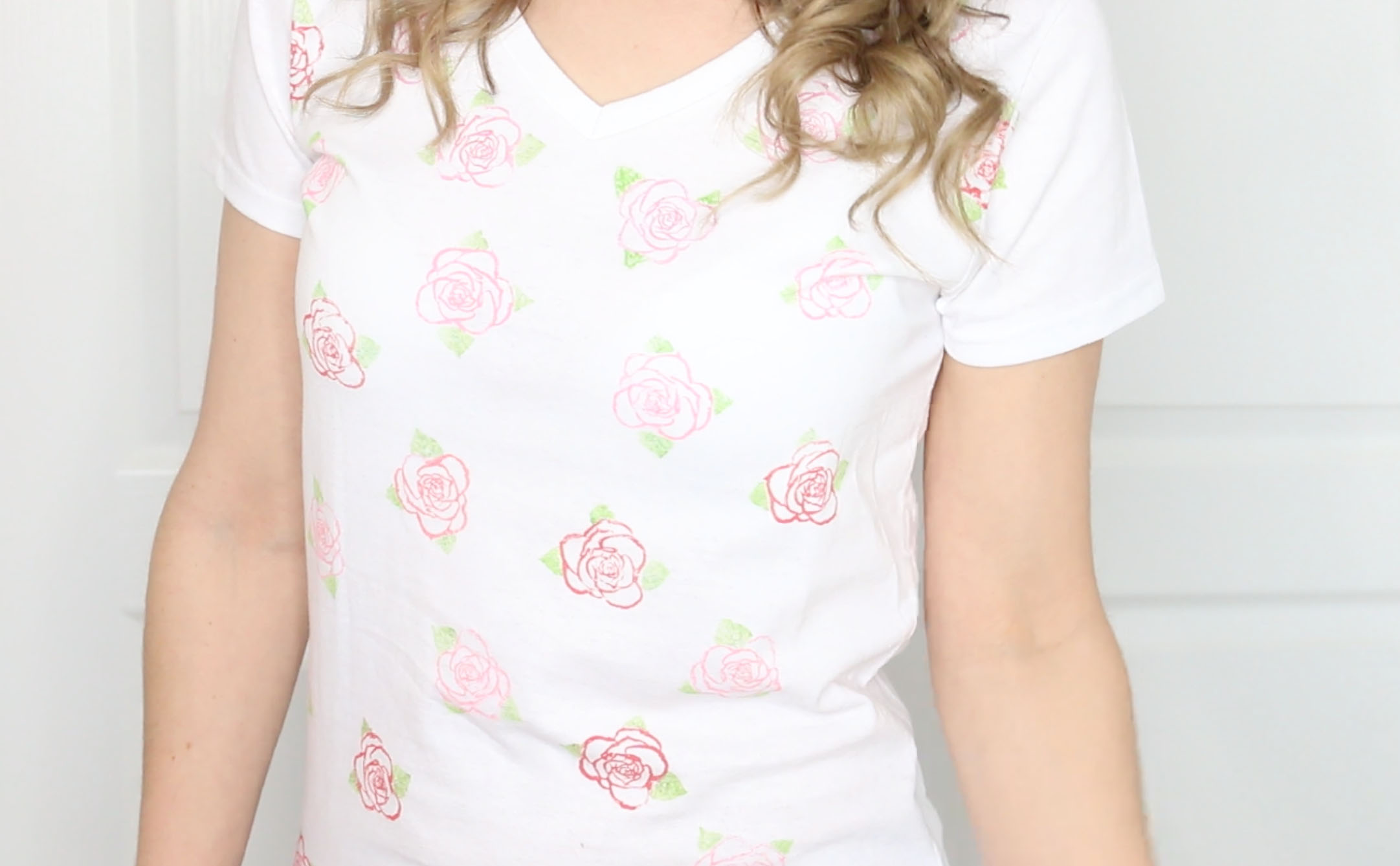 DIY Rose Stamped Shirt
