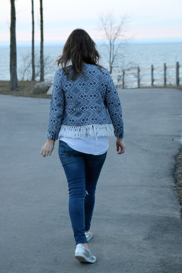 Aztec Blue Fringe Jacket