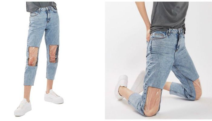 DIY Clear Knee Mom Jeans