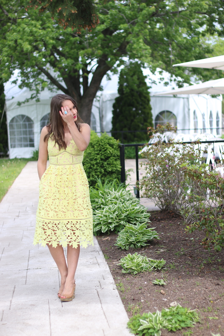 Yellow Lace Dress from GUESS