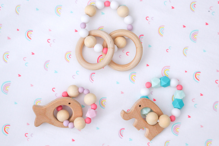 Easy DIY Wooden and Silicone Baby Teethers